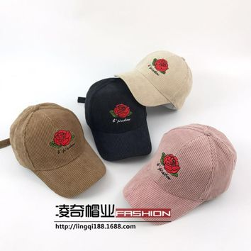 2017 Floral Rose Baseball Caps Fashion Hip Pop Dad Hats Casquette Corduroy Thick Street Hats & Caps Women Winter Gorra