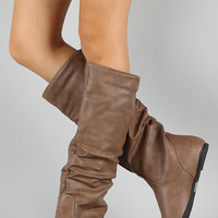 Wild Diva Kalisa-04N Leatherette Slouchy Knee High Boot