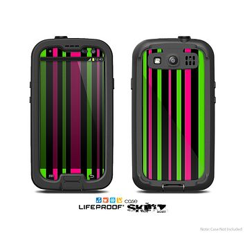 The Pink & Green Striped Skin For The Samsung Galaxy S3 LifeProof Case
