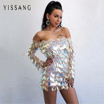 Yissang Elegant Club Party Short Strappless Dress Autumn Sexy Long Sleeve Bodycon Sequined Night Dresses Shining Vestidos