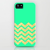 Sea Green Chevron iPhone & iPod Case by Pink Berry Pattern