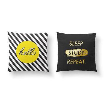 SET of 2 Pillows, Student Gift, Throw Pillow, Cushion Cover, Teen Room Decor, Sleep Study Repeat, Gold Pillow, Hello Pillow, Bed Pillow