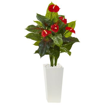 Artificial Plant -4.5 Foot Anthurium with White Tower Planter Silk Plant