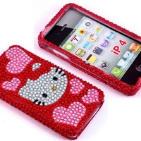 Smile Case Hello Kitty Design Bling Rhinestone Crystal Jeweled Snap on Full Cover Case for AT&T Verizon Sprint iPhone 4 iPhone 4S (4-Hearts Red)