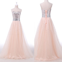 FREE P&P Illusion Tulle Bridesmaid Long Gowns Prom Party Evening Pageant Dress