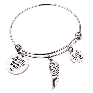 """AUGUAU Pet Memorial Gift Loss of Pet Bracelet """"No longer by my side but forever in my heart"""""""