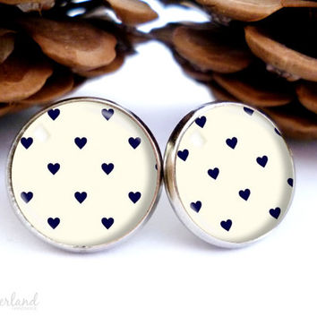 Hearts stud earrings, glass cabochon cute jewelry by The Neverland