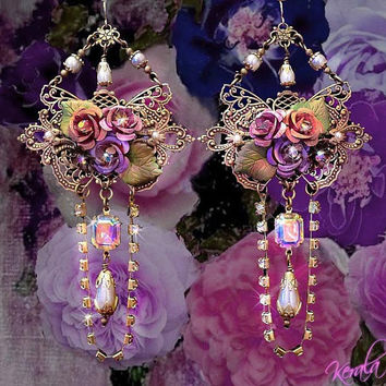 Butterfly and Rose Crystal Fantasy Earrings, Swarovski Aurora Borealis, Pearl - Bridal, Pastel Floral , Ornate Jewelry- MTO