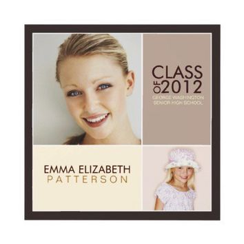 Then Now Modern Block Graduation Party Invitation from Zazzle.com