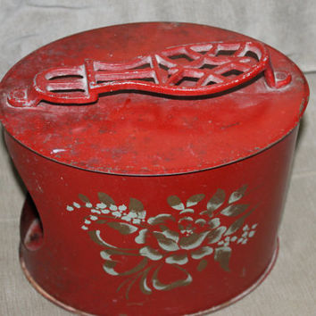 Antique Shoe Shine Box Metal Tole Footrest Stand, Red Painted Metal Shoe Shine Box Charming metal shoe shine stand, unusual form
