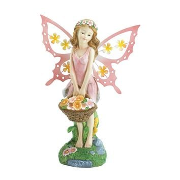 Pink Fairy Solar Powered Light Up Garden Statue