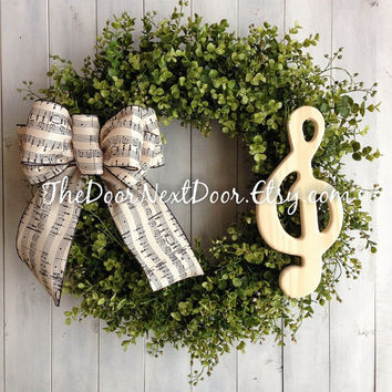 Eucalyptus Wreath - Music Wreath - Eucalyptus Door Hanger - Spring Wreath - Treble Clef Wreath
