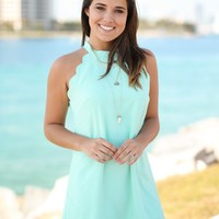 Mint Scalloped Short Dress