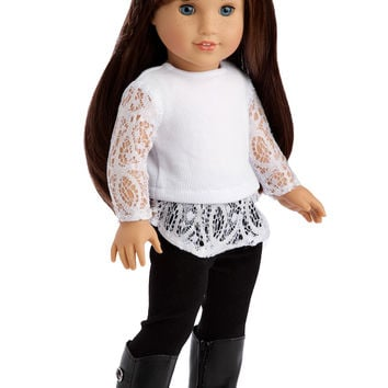 Just Fun - Clothes for 18 inch Doll - White Blouse, Black Leggings and Black Boots