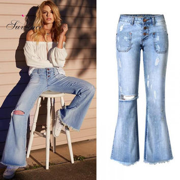 Suvance Fashion Loose Wide Leg Casual Denim Cotton 100% Women Jeans Spring New Russian Euro Us Style Trousers