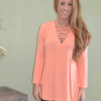 Take the High Road Bell Sleeve Top: Coral