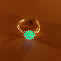 Glow in the Dark Jewelry - Aqua Glowing Ring - Gifts for Her - Birthday Gift