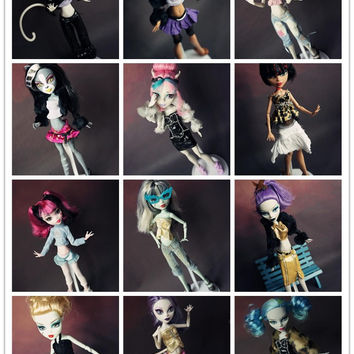 New 15pcs=clothes+shoes for Monster High dolls ,lot casual suit Original clothing doll's