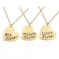 3 Pcs Heart Big Mid Lit Sis Necklace For Women Big Sister Middle Sister Little Sister Pendant Family BFF Best Friends Forever