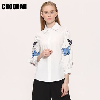 White Blouse New 2017 Spring Summer Long Sleeve Butterfly Embroidery Appliques Casual Shirt Women Tops Ladies Clothing