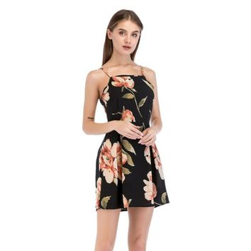 Summer Spaghetti Strap Chiffon Floral Print Mini Party Dresses