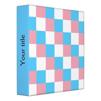 Transgender colors checkered pattern Binder