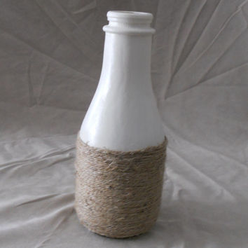 Painted vase up cycled from a milk jar. White painted vase with jute wrapped bottom. Painted jar.  Jute wrapped jar.
