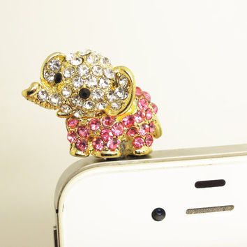 Bling Crystal Cute Animal Elephant Cell Phone Earphone Jack Antidust Plug Charm for iPhone 5,5s,Samsung S3,S4 Nokia HTC Smart Phone Charm