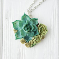 Green Blue Succulent Planter Necklace Pendant minisucculent plants Succulent Jewelry mother mom gifts for mums