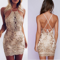 Fashion Hollow Lace Stitching Sleeveless Halter Tight Backless Mini Dress