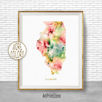 Illinois Map Art Print Illinois Art Print Illinois Decor Illinois Print Map Artwork Map Print Map Poster Watercolor Map ArtPrintZone