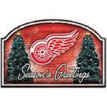NHL Wincraft Detroit Red Wings Seasons Greetings Wooden Christmas Sign