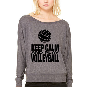 Keep Calm and Play Volleyballg WOMEN'S FLOWY LONG SLEEVE OFF SHOULDER TEE