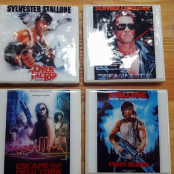 Ceramic Tile Coasters 80s Action Movie Coasters Man Cave The Terminator Rambo Over the Top Escape from New York