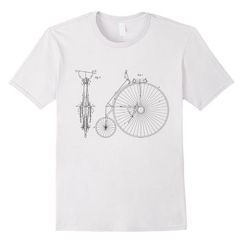 Vintage Bicycle High Wheeler Technical Diagram T-shirt