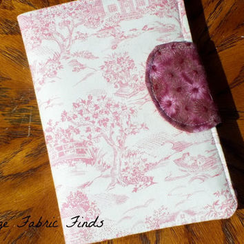 TOILE Pink - Beige Civil War French Era  E-Reader Cover Kindle Touch, Nook Cover, Kobo Cover, Kindle Fire Cover,  Made to Order