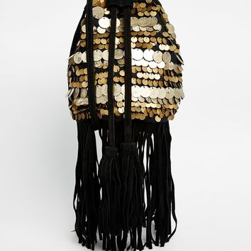 ASOS Sequin Fringed Duffle Cross Body Bag at asos.com