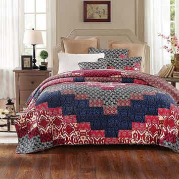 DaDa Bedding Cotton Geometric Patchwork Bohemian Floral Quilted Bedspread Set (JHW574)