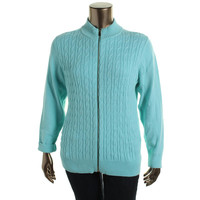 Charter Club Womens Plus Cable Knit Solid Full Zip Sweater