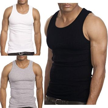 2017 Aakar shan Men Tank Tops Solid Casual Summer O-Neck Muscle Men Top Quality Premium Cotton Shirt Wife Beater Ribbed Tank Top
