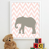 Girl Nursery Art Print Girls Room Girl Wall Art Baby Girl Nursery Decor Gift Pottery Barn Bedding Safari Animals Chevron Elephant - One 8x10