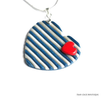 Blue and white stripy heart pendant - polymer clay necklace