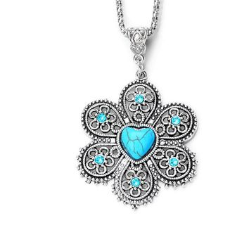 Crystal Natural Stone Flower Necklace