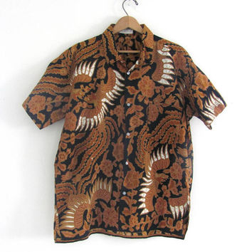 vintage tribal batik black and gold button up shirt // men's XL