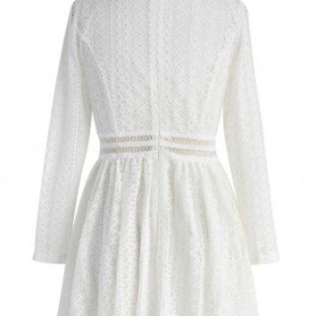 Suave Zigzag Lace Dress in White - Dress - Retro, Indie and Unique Fashion