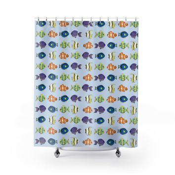 Tropical Fish in blue Shower Curtains