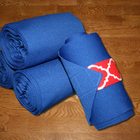 Equine Standing Wraps/Royal Blue Standing Wraps w/Red Quatrefoil Velcro Straps by Brax Designs