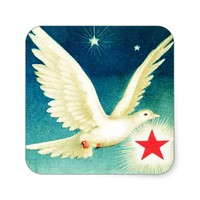 Flying Dove and Stars Sticker
