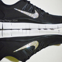 Nike Free 5.0+ Women's Running Shoes - Black / Dark Grey / White / Metallic Silver - Bedazzled with 100% Swarovski Elements Crystals