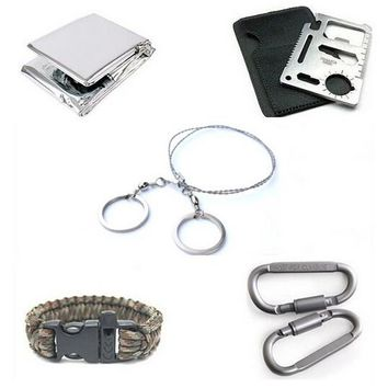 5 PCS/SET Steel Wire 550 Paracord Bracelet  Saw Scroll outdoor camping Travel Kit Carabiner Card Blanket Survival Emergency tool